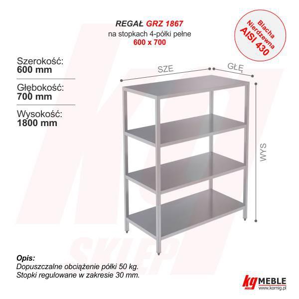 Regał 4 Półki Pełne 600 Furnig Meble Metalowe
