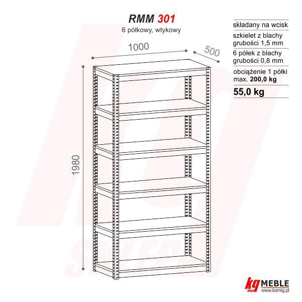 Regał Rmm 301 Uniwersalny 100x50x198 Furnig Meble Metalowe
